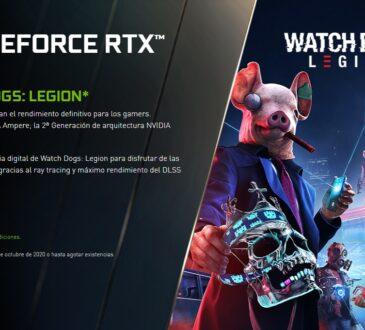 Hasta el 29 de octubre de 2020, o agotar existencias, con la compra de una GPU GeForce RTX Serie 30 obtendrás una copia gratuita del Watch Dogs: Legion