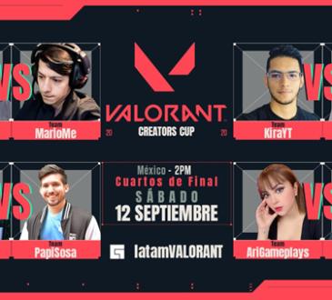 Este fin de semana, tendrán lugar los cuartos de final y la semifinal del Creators Cup de VALORANT en vivo a través de los canale @latamvalorant.