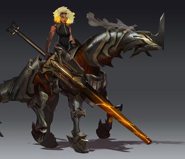 Rell, es hija de una agente de la Rosa Negra y de un oficial del ejército de Noxus, su magia se manifestó a temprana edad, a través de la manipulación del metal.