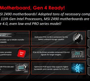 Todas las placas base MSI Z490 serán compatibles con PCIe 4.0 con los próximos procesadores Intel de 11.ª generación.